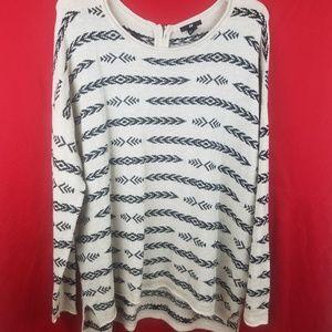 H & M Cream & Black Print Knit Sweater Size XL